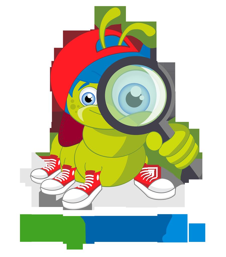 Eine kleine grüne Raupe mit roter Mütze und roten Schuhen schaut durch eine Lupe. Darunter steht die Schriftzug fragFINN.de.