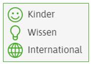 """Drei Symbole: Ein lachender Smiley, daneben steht: ,,Kinder"""". Eine Glühbirne, daneben steht: ,,Wissen"""". Ein Globus, daneben steht: ,,International""""."""