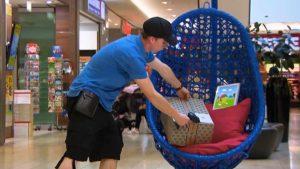 Ein Paketbote legt ein Päckchen in einem großen, blauen Korbstuhl ab, der sich in einem Kaufhaus befindet.