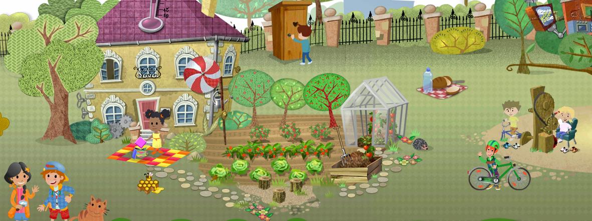 Ein Garten mit Baumhaus, Gartenhäuschen, spielenden Kindern und Vögeln, die umherfliegen.