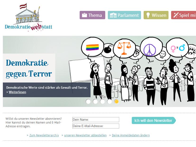 Screenshot von Demokratiewebstatt