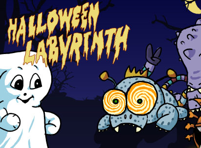 Ein weißes Gespenst und ein blaues Monster mit großen spiralförmigen Augen schauen in die Kamera.