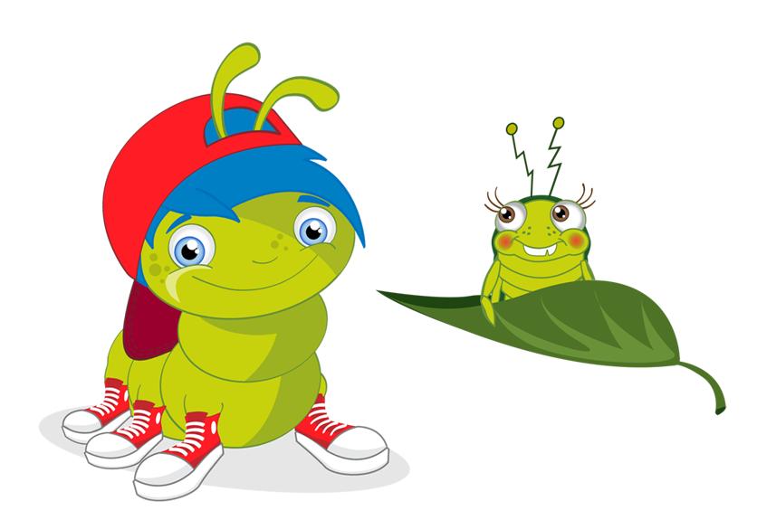 Eine grüne Raupe mit blauen Haaren und roter Mütze steht neben einer kleinen Laus, die auf einem Blatt sitzt.