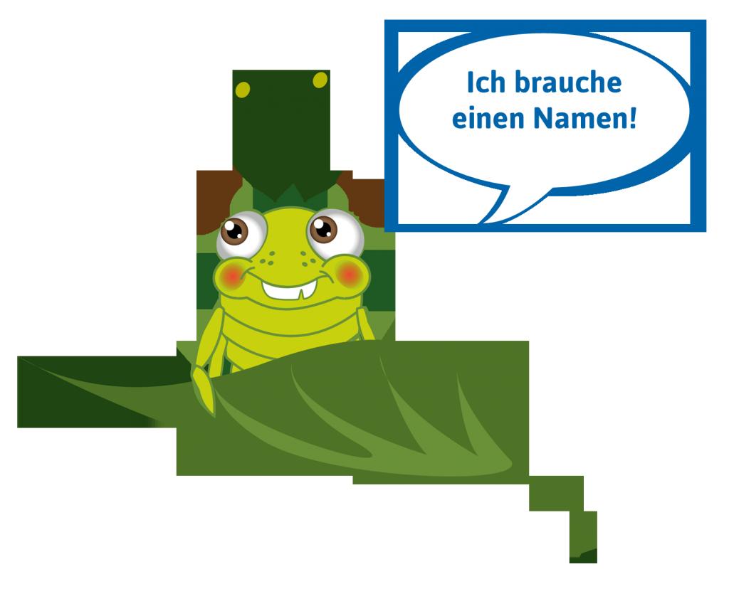 """Eine hellgrüne Laus mit Sommersprossen sitzt auf einem Blatt. In einer Sprechblase steht: """"Ich brauche einen Namen!"""""""